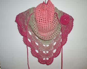 small crochet shawl, scarf and pink