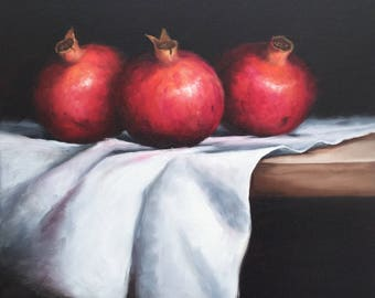 Pomegranates on cloth ,Original Oil Painting ready to hang still life wall art by Jane Palmer