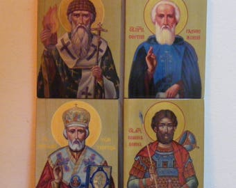 "Personal Patron Saint  13x17x2 см-сustom made in order- orthodox icons  religious icons of hot colors directly on solid wood 5.2""x 6.8""x0.8"""