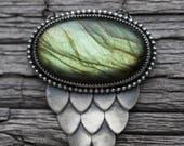 medusa necklace. large snake scale pendant. labradorite gemstone. snakescale accent. beaded border. snake window