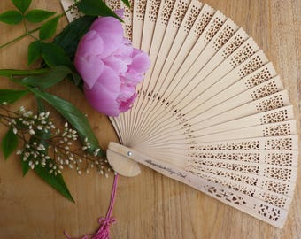 set of 24 personalized paper fans - Wedding guest gift