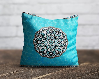 Moroccan Pillow Cover Blue Geometric Cushion Cover PillowCase Portugal Throw Pillow Cover Decorative Silk Pillow Satin Luxury Decor Her Gift