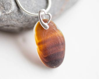 "Seaham amber multi Sea Glass necklace (sterling silver findings and 16"" chain) - Perfect for someone who loves the ocean!"