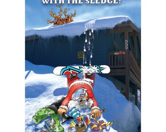 SNOWBOARD CHRISTMAS CARD - He should have stuck with the sledge! Funny Christmas card