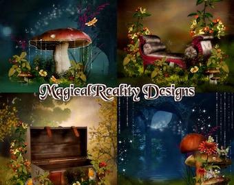 Digital Scrapbook - Enchanted Woods {Scene Backgrounds} JPG - Fantasy Themed - Magical Backgrounds - Digital Magical Scrapbook - Scenes