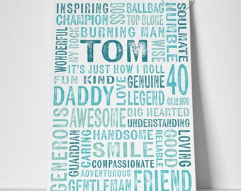 40th Birthday Gift for Him / Gift for Husband / Gift for Boyfriend / Friendship Gift / Canvas Print / Forty / Gift for Daddy / Father Gift /