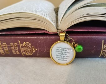 Robert Frost Quote Necklace, Two roads diverged in the wood, Book Nook, Quote Necklace, Travel Quote, Wanderer, MarjorieMae