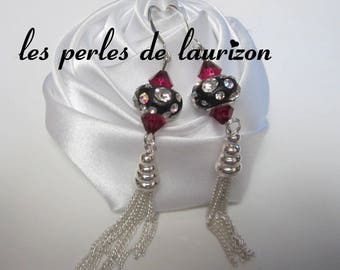 These earrings a glamorous black rhinestones