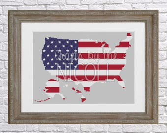 United States of America Flag Cross Stitch Pattern