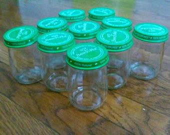 10 Tall Beechnut Glass Baby Food Jars, 4 oz- empty, clean, no glue / craft jars