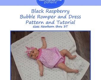 Black Raspberry Bubble Romper and Dress PDF Sewing Pattern Infant and Toddler Romper Infant and Toddler Dress Sewing Pattern
