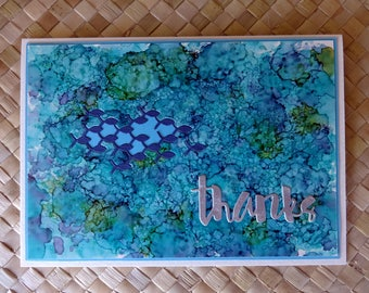 Ocean themed thank you card with school of fishes