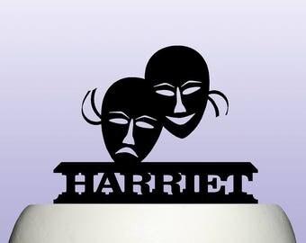 Personalised Acrylic Theatre Masks Performance Drama Cake Topper Decoration