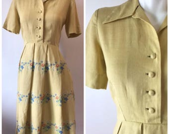 Vintage 40s-50s Day Dress yellow Linen Embroidered Floral A Line Pleats women's