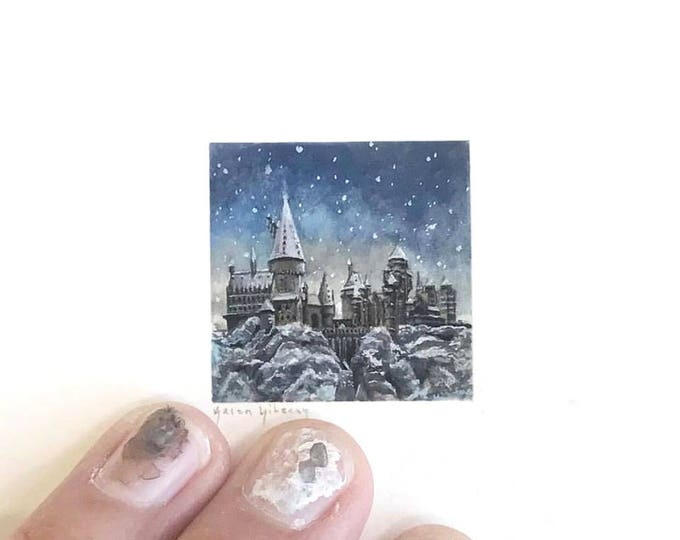 Print of miniature watercolor painting of Harry Potter Hogwarts.  giclee print of Hogwarts in the snow