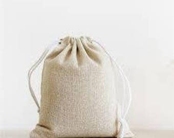 100% Cotton Canvas Favor Bag Pouch With Drawstring 6-pack