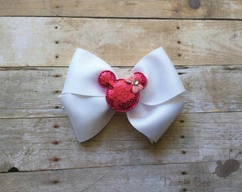 Minnie Bow - Disney Bow - Minnie Mouse Bow - Disney Hair Bow - Minnie Baby Bow - White and Pink Disney Bow - White Minnie Bow