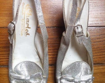 silver glitter lame 60s sling back pumps shoes / 6 UK 7,5 US 39 FR