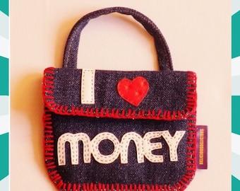 Original Coin Purse! I LOVE MONEY! Denim Blue size: 13cm X 11 cm