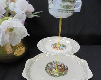 SALE Wedding Cake Stand 3 Tier Renaissance Pastoral 22 KT Gold Mix Match Bridal Serving Tray