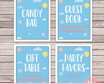 4 Baby Shower Party Signs, Cloud and Hot Air Balloons Bundle, Instant Download