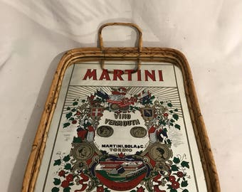 Old tray mirror & 2 handles Vintage rattan MARTINI cocktails