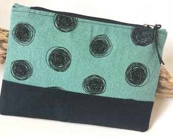 Bag cosmetic bag, dots, turquoise black 20 x 14 cm, pins, pouch