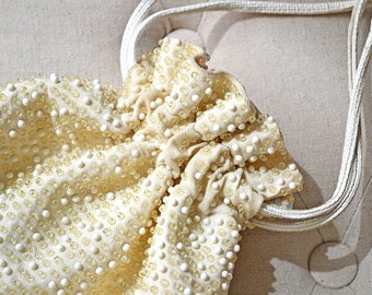 1960s Beaded Drawstring Purse Reversible Gold and Pastels by Cheri