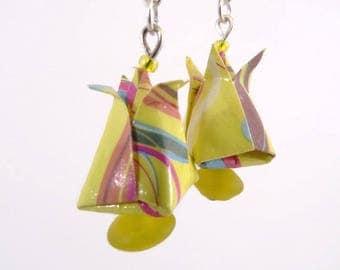 Flowers tulips Origami yellow geometric pattern earrings
