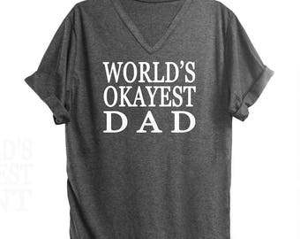 World's okayest dad tshirt woman tops women tshirt funny quote top teen clothing ladies graphic tee funny saying women top