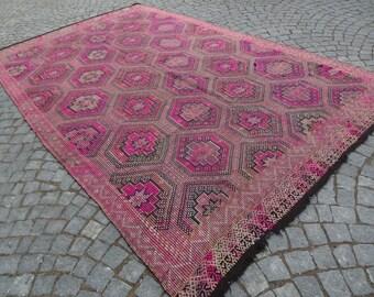 Pink kilim rug,83''134'' -11'15''x6'88''-210x340 cm