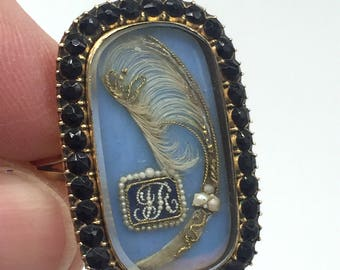 Georgian Gold English Mourning Ring for a Child dated 1809 with Prince of Wales Hair Curl