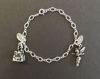 Disneyland Charm Bracelet Sterling Silver Authentic Disney Castle Tinker Bell Tinkerbell Charms Pendant Vintage Walt Disney Productions 1970
