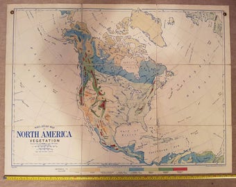 Vintage Bacon's North America Vegetation school/wall map