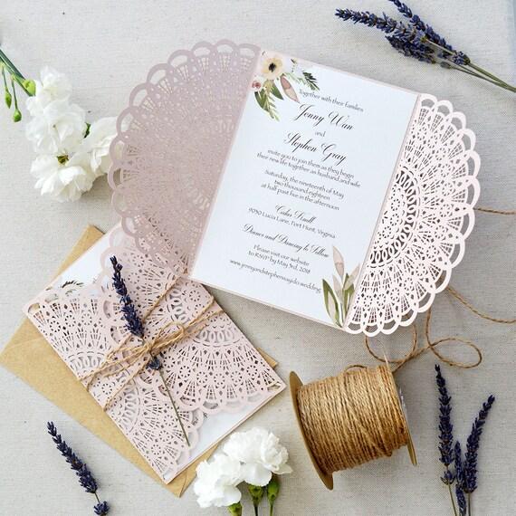 JENNY - Blush Laser CutWedding Invitation with Twine and Lavender - Blush Semi-Circle Laser Cut Gatefold invite w/ Kraft Envelopes