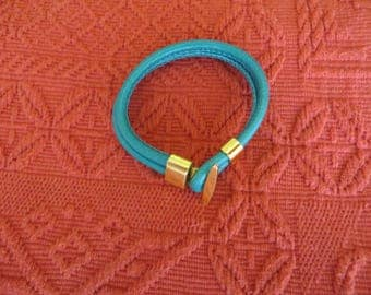 Double leather cord BRACELET gold turquoise full grain leather with Golden fastener, passing