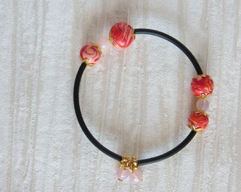Wrapped shape memory BRACELET from bina black with polymer clay beads
