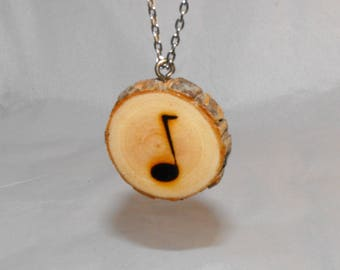 Music Note Wood slice Necklace - Brides Maid gift ~ Graduation ~  Birthday - minimalist jewelry ~ Fifth anniversary - Sweet sixteen gift