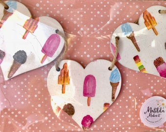 Ice-Cream and Lollies Wooden Hearts Garland/Bunting
