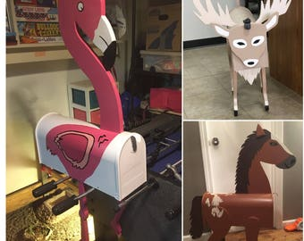 Flamingo mailbox and Horse Mailbox