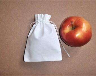 """White  Cotton Pouches * Cotton Plain Drawstring Bags * Small Canvas Pouches * 15 pcs Pouches * 2""""x 3"""" ( 5cm x 8cm)"""