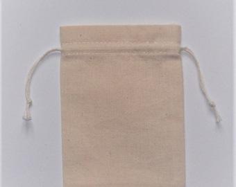 """10 Muslin Pouch * Cotton Pouch * Natural Cotton Pouch * 3"""" x 4"""" (8cm x 10cm)"""