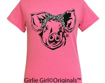 Girlie Girl Originals Leopard Bandana Pig Safety Pink Short Sleeve T-Shirt