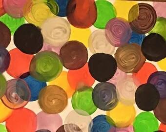 Acrylic modern art canvas painting - Abstract circles