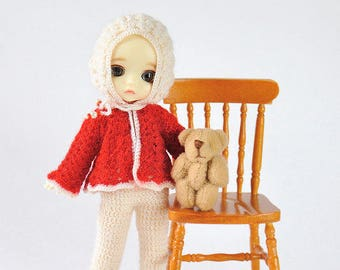 Hand knitting: Set for Lati White SP (12 cm)  - coat, pants