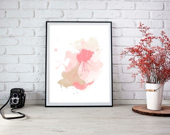 """Abstract Watercolor Print, """"Cupcakes in the Park"""", Printable, Wall Art"""