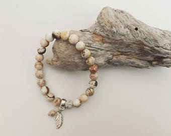 Neutral stretch bracelet, Natural, Stone, Leaf charm, Sterling silver, Elastic bracelet, Boho, thehappylittlebeader