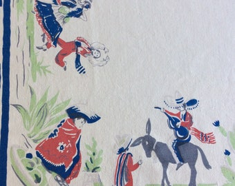 Vintage Mexican fiesta tablecloth with dancers, donkey and cactus