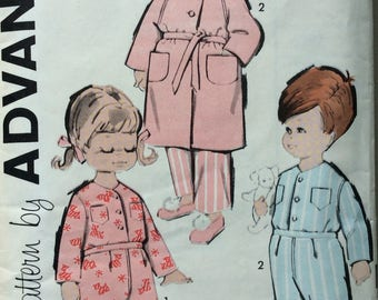 Advance 9944 childs pajamas & robe size 1 vintage 1960's sewing pattern