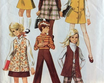 Simplicity 8377 girls jumper or vest, skirt and pants size 7 or size 10 vintage 1960's sewing pattern